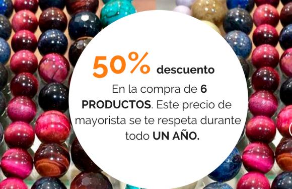 """Anuncio que dice: """"50% de descuento en la compra de 6 productos. Este precio de mayorista se te respeta durante todo un año"""""""